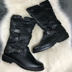 Totes Lara Black Faux Fur Lined Winter Boots